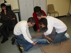 Mise au repos d'un blessé