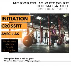 Initiation Crossfit à l'AS mercredi 13 octobre